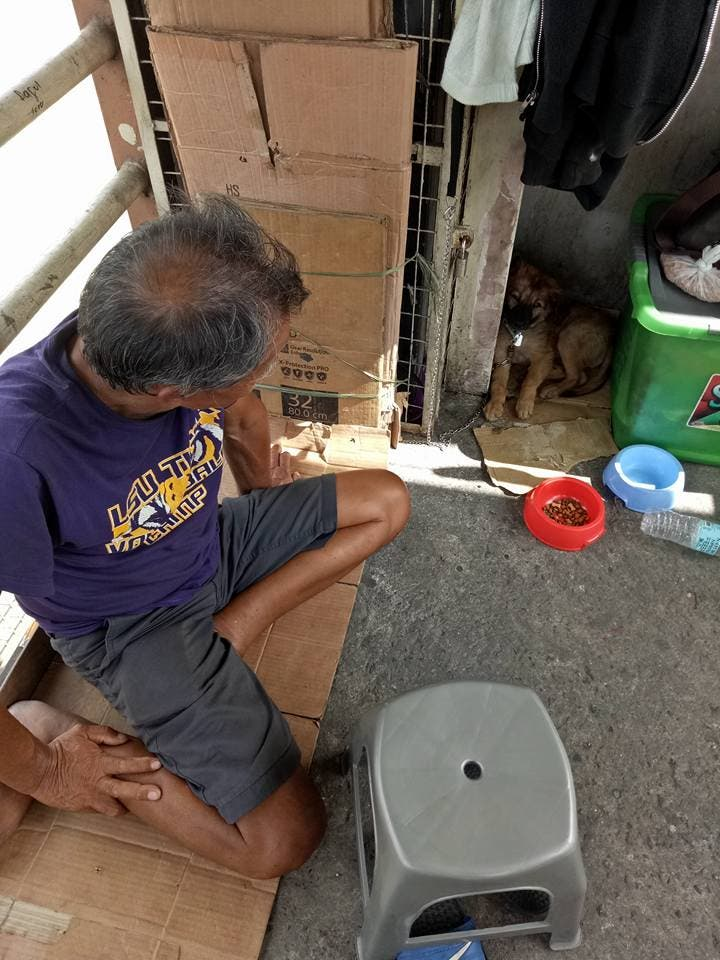 Lolo Phil with Puppy Dogman - Homeless Lolo with sick puppy at Fairview Bridge in Quezon City