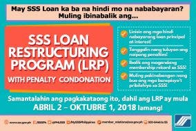 SSS loan restructuring program penalty condonation