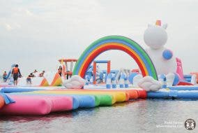 inflatable island rainbow walk