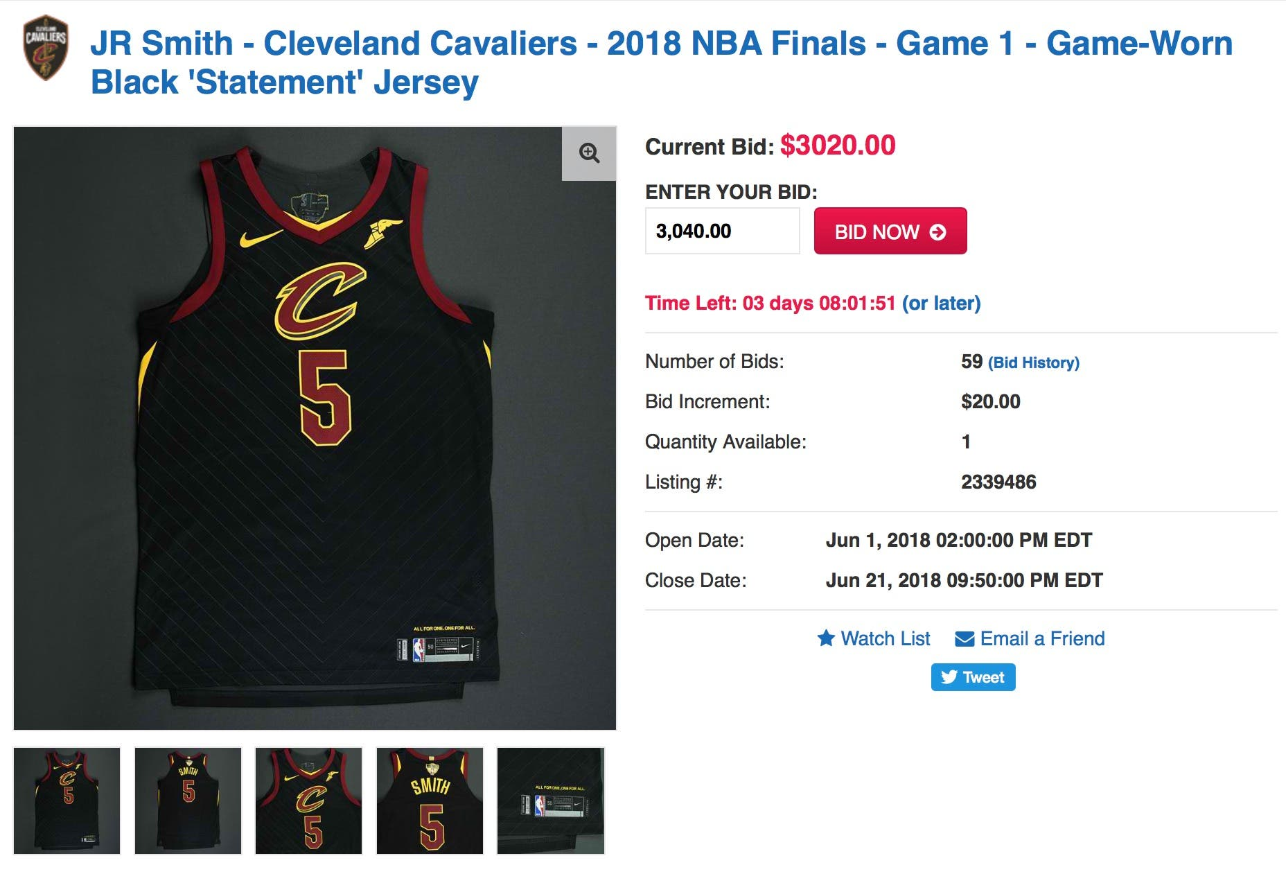 the best attitude d916e b95a3 You Can Buy JR Smith's Jersey from Game 1 of the 2018 NBA ...