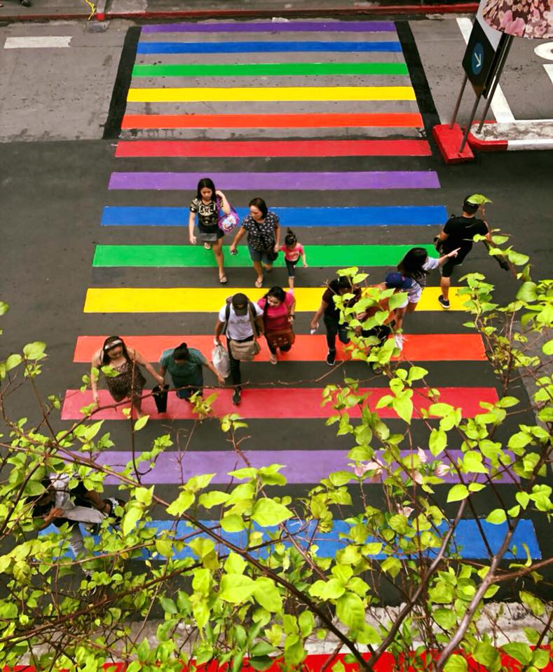 LOOK: There's a splash of rainbow on QC pedestrian lanes because 'love knows no limits'