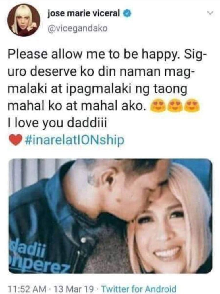 vice ganda deleted tweet about relationship with ion perez