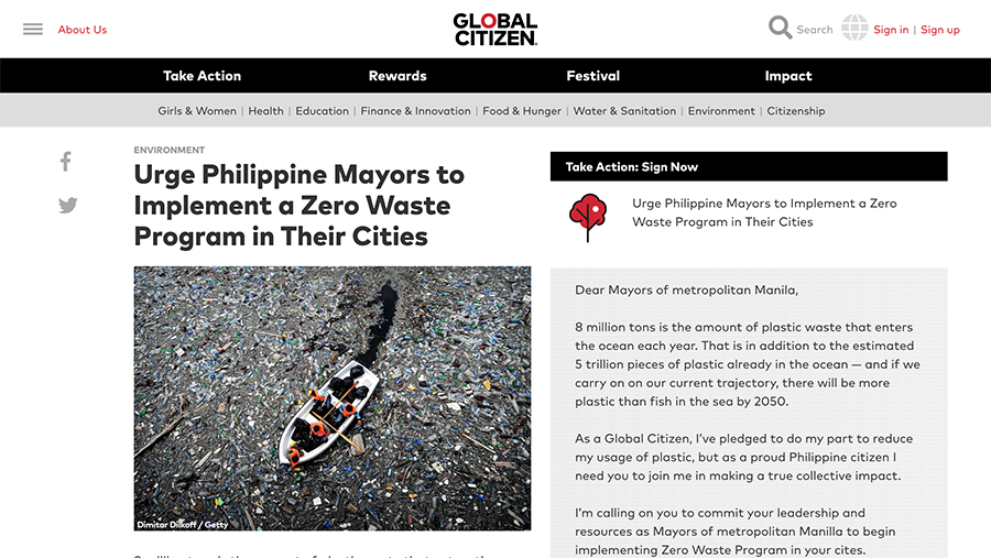 Global Citizen Petition for Manila Waste Management