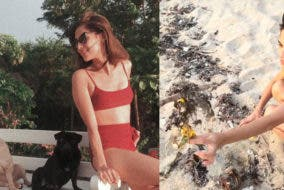 Jasmine Curtis Smith Picks Up Trash During Beach Vacation