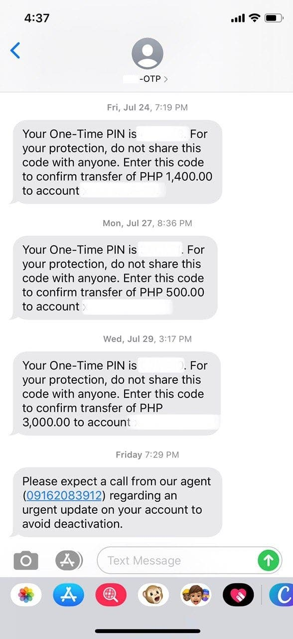 Bank OTP Text SMS Hack Scam